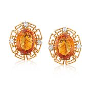C. 1975 Vintage 15.50 ct. t.w. Citrine and .60 ct. t.w. Diamond British Hallmark Earrings in 18kt Yellow Gold