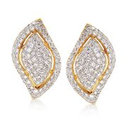 C. 1980 Vintage 2.00 ct. t.w. Diamond Leaf Earrings in 18kt Yellow Gold