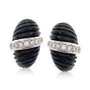 C. 1980 Vintage Black Onyx and 1.10 ct. t.w. Diamond Shrimp Clip-On Earrings in 18kt Two-Tone Gold