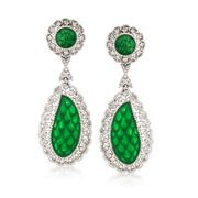 C. 1970 Vintage Jade and 1.00 ct. t.w. Diamond Drop Earrings in 18kt White Gold