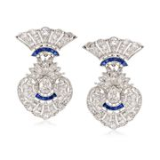 C. 1960 Vintage 3.85 ct. t.w. Diamond and .50 ct. t.w. Sapphire Earrings in Platinum