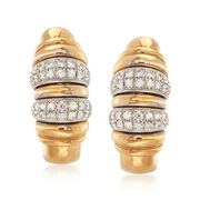 C. 1990 Vintage .85 ct. t.w. Diamond Ribbed Earrings in 18kt Yellow Gold