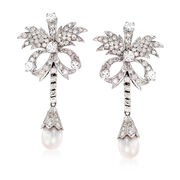 C. 1980 Vintage Cultured Pearl and 2.60 ct. t.w. Diamond Floral Drop Earrings in Sterling Silver