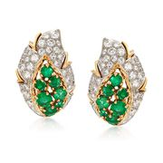 C. 1980 Vintage 2.50 ct. t.w. Emerald and 2.20 ct. t.w. Diamond Leaf Earrings in 18kt Yellow Gold