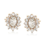C. 1990 Vintage 1.55 ct. t.w. Diamond Oval Cluster Earrings in 14kt Yellow Gold