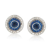 C. 1990 Vintage 3.10 ct. t.w. Sapphire and Diamond Round Earrings in 18kt White Gold