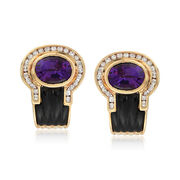 C. 1980 Vintage Black Onyx and 3.70 ct. t.w. Amethyst Earrings With Diamonds in 18kt Yellow Gold