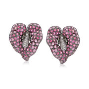 C. 1990 Vintage 4.30 ct. t.w. Pink Sapphire and .40 ct. t.w. Diamond Flower Earrings in 18kt White Gold