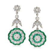 C. 2000 Vintage 3.73 ct. t.w. Diamond and 2.60 ct. t.w. Emerald Drop Earrings in 18kt White Gold