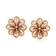 C. 1980 Vintage 3.5mm Cultured Pearl and 1.10 ct. t.w. Ruby Flower Clip-On Earrings With Diamonds in 14kt Gold