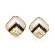 C. 1980 Vintage Black Onyx and .55 ct. t.w. Diamond Earrings With Mother-Of-Pearl in 18kt Gold
