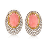 C. 1980 Vintage Orange Coral and 3.75 ct. t.w. Diamond Oval Earrings in 18kt Gold