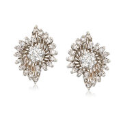 C. 1960 Vintage .80 ct. t.w. Diamond Cluster Earrings in 14kt White Gold