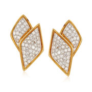 C. 1980 Vintage 3.20 ct. t.w. Diamond Crossover Earrings in 14kt Yellow Gold