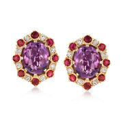 C. 1980 Vintage 8.60 ct. t.w. Amethyst and 2.40 ct. t.w. Ruby Earrings With Diamonds in 14kt Yellow Gold