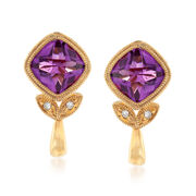 C. 1990 Vintage 1.50 ct. t.w. Amethyst Earrings With Diamond Accents in 14kt Yellow Gold