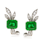 C. 1950 Vintage .50 ct. t.w. Diamond and Green Glass Non-Pierced Earrings in Platinum