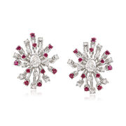 C. 1960 Vintage .55 ct. t.w. Ruby and .75 ct. t.w. Diamond Snowflake Earrings