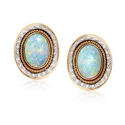 C. 1980 Vintage Opal and 1.20 ct. t.w. Diamond Earrings in 14kt Yellow Gold