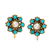 C. 1960 Vintage 5.8mm Cultured Pearl and Turquoise Clip-On Earrings in 14kt Yellow Gold