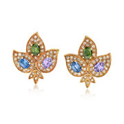 C. 1960 Vintage 14.40 Multicolored Sapphire Flower Earrings in 18kt Yellow Gold