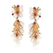 C. 1970 Vintage Cultured Pearl and .50 ct. t.w. Ruby Drop Earrings With Diamond Accents in 14kt Yellow Gold