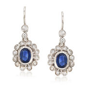 C. 1980 Vintage 1.70 ct. t.w. Sapphire and .90 ct. t.w. Diamond Drop Earrings in 14kt White Gold