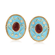 C. 1970 Vintage 4.80 ct. t.w. Garnet and Blue Enamel Earrings in 14kt Gold With Diamond Accents