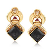 C. 1980 Vintage Black Onyx and .50 ct. t.w. Ruby Doorknocker Clip-On Earrings With Diamonds in 18kt Gold