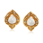 C. 1980 Vintage 13x12mm Cultured Baroque Pearl and .25 ct. t.w. Diamond Earrings in 18kt Yellow Gold
