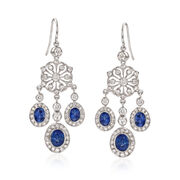 C. 2000 Vintage 2.80 ct. t.w. Sapphire and 1.70 ct. t.w. Diamond Chandelier Earrings in 18kt White Gold.