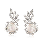 C. 1960 Vintage 9mm Cultured Pearl and 1.55 ct. t.w. Diamond Cluster Earrings in 18kt White Gold