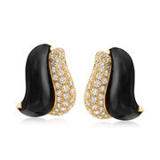 C. 1980 Vintage 2.40 ct. t.w. Diamond and Black Onyx Earrings in 18kt Yellow Gold