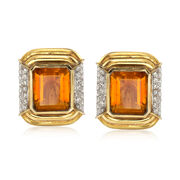 C. 1980 Vintage 15.00 ct. t.w. Citrine and 1.20 ct. t.w. Diamond Clip-On Earrings