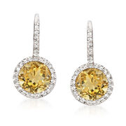 C. 1980 Vintage 2.30 ct. t.w. Citrine and .20 ct. t.w. Diamond Drop Earrings in 14kt White Gold. Leverback Earrings