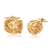 C. 1960 Vintage Men's Lion Cufflinks in 14kt Yellow Gold