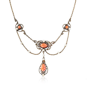 """C. 1880 Vintage Pink Coral and Cultured Seed Pearl Necklace in 18kt Yellow Gold. 18"""""""