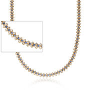 C. 1990 Vintage 8.90 ct. t.w. Diamond and 4.40 ct. t.w. Sapphire Necklace in 18kt Yellow Gold. 16""