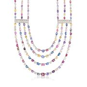 C. 1990 Vintage 200.00 ct. t.w. Multicolored Sapphire Multi-Strand Necklace With 6.00 ct. t.w. Diamonds in 18kt White Gold. 16""