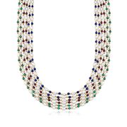C. 1980 Vintage Cultured Baroque Pearl and 4mm Multi-Stone Multi-Row Necklace in 18kt Gold. 32""