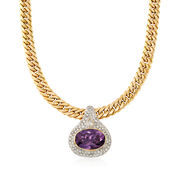 """C. 1980 Vintage 15.45 Carat Amethyst and 2.80 ct. t.w. Diamond Curb-Link Necklace in 18kt Gold. 15.75"""""""