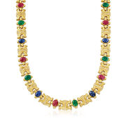 C. 1980 Vintage 29.70 ct. t.w. Multi-Stone and 2.30 ct. t.w. Diamond Link Necklace in 18kt Gold. 16.5""