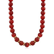 C. 1991 Vintage 12mm Carnelian Bead Necklace With British Hallmark in 9kt Yellow Gold. 15""