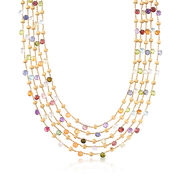"""C. 2000 Vintage Marco Bicego 93.00 ct. t.w. Multistone Mult-Strand Necklace in 18kt Yellow Gold. 16.5"""""""