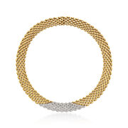 """C. 1980 Vintage 4.50 ct. t.w. Diamond Mesh Necklace in 18kt Two-Tone Gold. 15"""""""