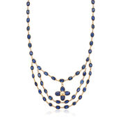 """C. 1970 Vintage 36 ct. t.w. Sapphire by the Yard Flower Necklace in 14kt Yellow Gold. 17.5"""""""