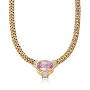 C. 1980 Vintage 35.80 Carat Pink Kunzite and .75 ct. t.w. Diamond Byzantine Necklace in 14kt Yellow Gold. 16""
