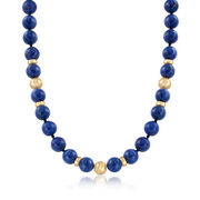 C. 1980 Vintage Lapis and 14kt Yellow Gold Beaded Necklace. 15.5""
