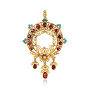 C. 1980 Vintage 4.70 ct. t.w. Garnet Floral Pin Pendant With Turquoise and Diamonds in 18kt Gold