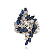 C. 1970 Vintage 3.00 ct. t.w. Sapphire and 1.25 ct. t.w. Diamond Cluster Ring in 14kt White Gold. Size 6.25